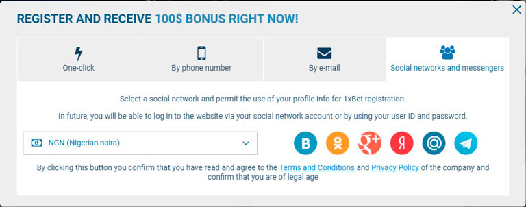 1xbet registration by social network